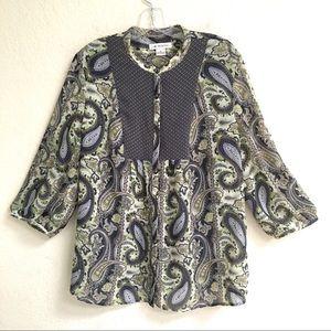 Liz Claiborne hidden button 3/4 sleeve blouse XL